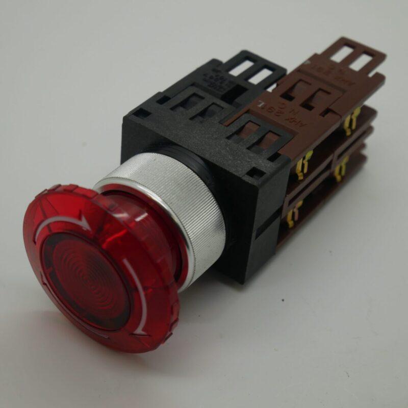 Illuminated Stop Button AH22 VLI E - Silver Collar